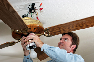 Wooden Ceiling fan installation in Fremont, CA